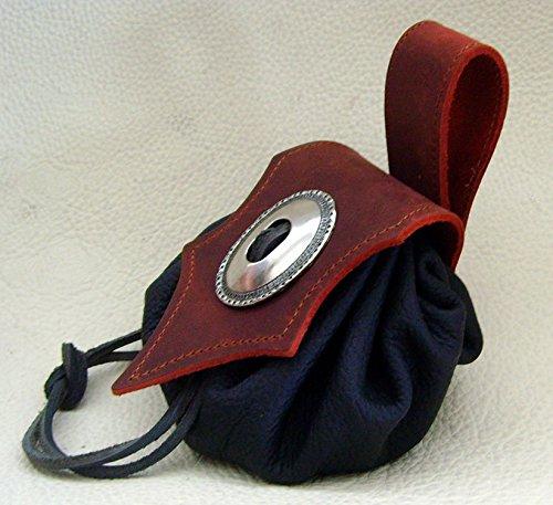 Lederbeutel Dukatenbeutel Geldkatze Farbe rot – schwarz - 2
