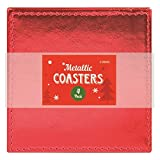 4Pack Metallic Christmas sottobicchieri/mat- argento, rosso o oro Red