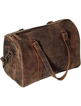 [Gesponsert]Umhängetasche Tasche Rucksack Leder Schultertasche braun Wildleder Laptop Messenger Bag | groß Rindleder Aktentasche...