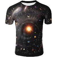 GZZ Camiseta de Manga Corta Delgada 3D Digital Planet Print para Hombre/Camiseta de Gran tamaño de Verano Base 3D de Manga Corta Deportiva/Slim Fit para Hombre,Color de la fot,L