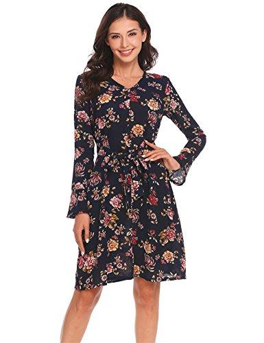 4433c9ebe11371 Meaneor Damen Kleider Elegante Festliche Printkleider Drucken Bunte Kleider  hit Farbe Slim Langarm Abendkleider