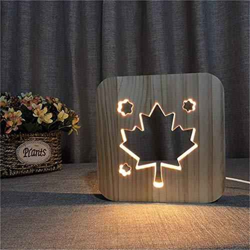 Dfttg Kanadische flagge ahornblatt 3d holz licht usb led nachtlicht persönlichkeit handwerk stimmung licht baby schlaf schlafzimmer dekorieren tischlampe kinder geschenk (Warmweiß) -