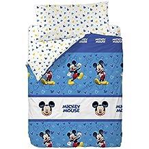 Disney Mickey Happy Funda Nórdica, Algodón-Poliéster, Azul, Cama 80/95 (Twin), 200.0x90.0x25.0 cm, 3 Unidades