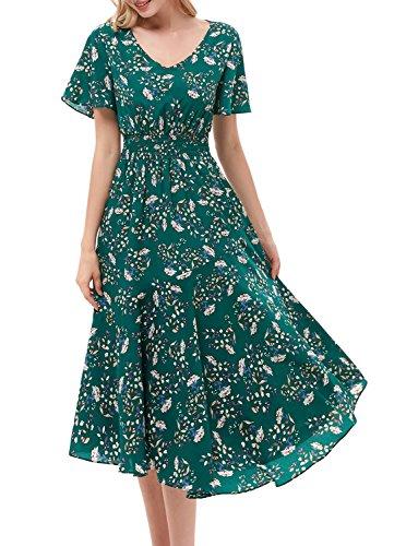GardenWed Damen Sommerkleider Chiffon V-Ausschnitt Blumen Strandkleider Abendkleid Partykleid Green...