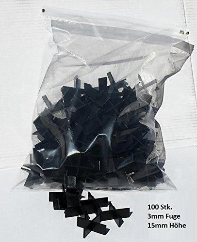 Fugenkreuze 3mm, Bauhöhe 15mm, 100 Stück im Beutel