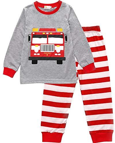 EULLA Kinder Jungen Schlafanzug Lang Baumwolle Feuerwehrauto Pyjama 92 98 104 110 116