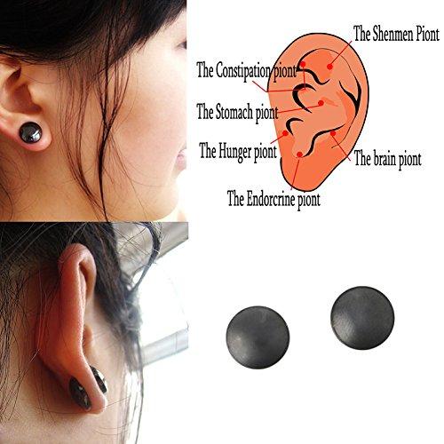 Dairyshop 1Pair Gewichtsverlust Ohrringe Gesunde Stimulating Acupoints Stud Magnetfeldtherapie(schwarz)