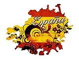 Wandsticker Sticker Wandaufkleber für Wohnzimmer Spruch Espana Spanien Flagge (74x57cm)
