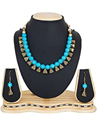 Catalyst Gold Plated Oxidised Polish Metal SKYColoured Pearl Jewellery Set For Women/Girls