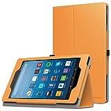 MoKo Hülle für All-New Amazon Fire HD 8 Tablet (7th & 8th Generation – 2017 & 2018 Modell) - Kunstleder Ständer Schutzhülle Smart Cover mit Stift-Schleife, Orange