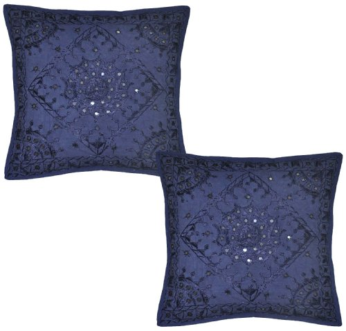 Home Furnishing Tempting Design Cushion Cover With Embroidery & Mirror Work, 41 X 41 Cm, (Home Furnishings)