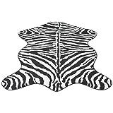 Festnight Teppich Zebramuster Teppiche Polyester Matte Fellimitat-Teppich mit Zebra-Druck 150 x 220 cm für Wohnzimmer oder Schlafzimmer