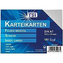 TSI - Tarjetas de cartulina (DIN A7, 100 unidades, en blanco), color blanco