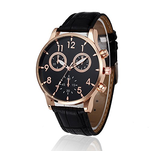 Mens Quartz Watch,Ulanda-EU Unique Retro Design Analog Business Casual Fashion Wristwatch,Clearance Cheap Watches with Round Dial Alloy Case,Comfortable PU Leather Band la10 (Black)