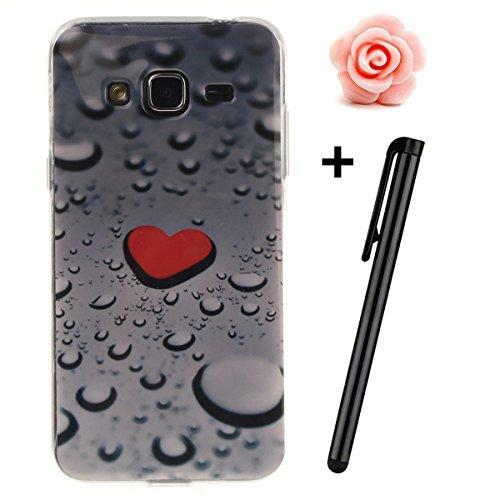 Custodia per Samsung Galaxy A32015, in morbido TPU, ultra sottile, trasparente, flessibile, SM-A300, TOYYM, colorata con disegno stampato, protettiva, motivo: fiore, con penna antipolvere Waterdrop