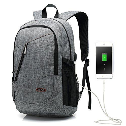 Imagen de 15.6 pulgadas usb de trabajo  /  de negocios /  de ordenador portátil para hombres y mujeres, gris peso ligero resistente al agua hombro bolsa casual para la escuela, el trabajo, viajes usb gris