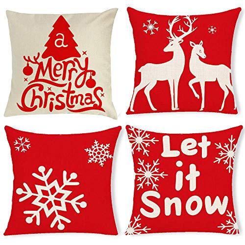 gudotra 4pz natale federa cuscini rosso 45x45cm cotone copricuscini divano modelli fiocchi di neve albero di natale decorazioni natalizie per divano