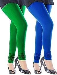 Spring Up Green Royal Blue Woman's Cotton Lycra Premium Leggings (Pack Of 2)