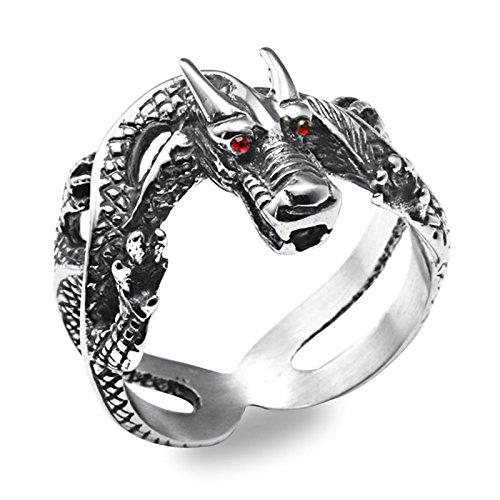 Aooaz Gioielli anello fascia anelli acciaio Drago anelli da uomo anello gotico Argento Dimensione italiana 22
