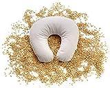 Cuscino da viaggio , Cuscino semi di Farro , Cuscino collo Supporto Ortopedico per pula di farro Bio con Fodera rimuovibile in 100% cotone 35 x 33 cm