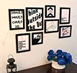 Painting Mantra Art Street Motivational Quote Gallery Wall Photo Frame Set (Black, Set of 8)