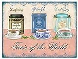 DARJEELING BREAKFAST EARL GRAY TEA'S OF THE WORLD FUNNY METAL WALL ADVERTISING WALL SIGN