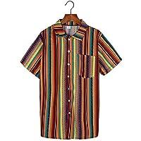 YWAWJ Camisas de la Camiseta de Verano Anverso Suave con Loose Corto Collar del Soporte de impresión Colorida Floja Rayada (Color : Orange, Size : XX-Large)