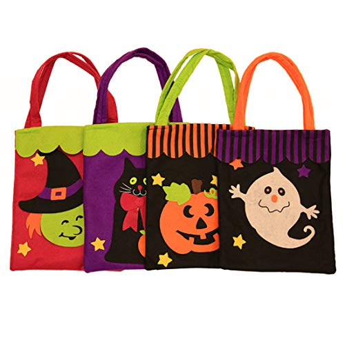 (VJUKUBWINE Halloween Portable Stofftasche Ghost Festival Kinder Dekoration Requisiten Spielzeug Anzieh Zubehör Kürbis Tasche Geschenktüte Candy Bag Prop Bag 4 Pack)