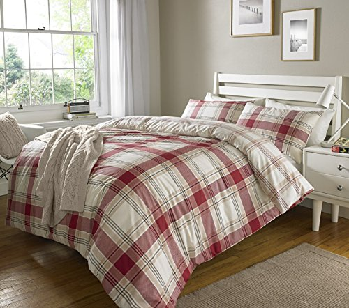 Red Check Stripes Ticking Duvet Cover & Pillowcase Set Bedding Digital Print Quilt Case Single Double King Bedding Bedroom Daybed (Single) by Pieridae -