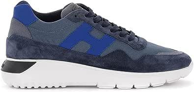 Hogan Sneaker H371 Interactive³ in Suede E Tessuto Blu Navy, Taglia UK: 10