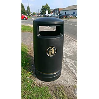 Advancedscape Hefton Large Capacity Plastic Outdoor Litter Bin Complete with a Stainless Steel Ashtray Top - Street or Park Waste Bin - BLACK