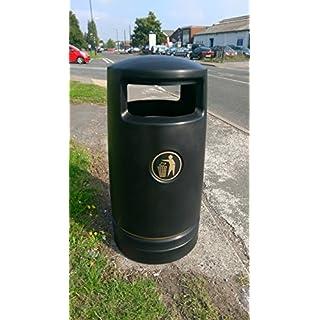 Advancedscape Hefton 120 Litre Plastic Outdoor Litter Bin Lockable - Street Waste Bin - BLACK - In Stock - Quick Dispatch