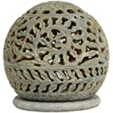 ALs AnM Fashion Hand Carved Globe Shaped Candle Holder Tea Lights Lamps Soapstone Carving Lattice Design Home Accent Decorative Table Top Accessory