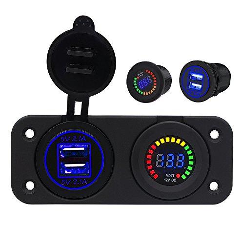 Preisvergleich Produktbild TurnRaise Wasserdichte 4.1A Dual USB Ladegerät Adapter und Voltmeter LED Panel 12V-24V für Motorrad Auto Boot Marine Carvan