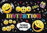 Edition Colibri Invitations Smiley en Français: Lot de 10 Cartes d'Invitation rigolotes Smileys / Émoticônes pour Un Anniversaire ou pour Une discothèque des (11016 FR)...