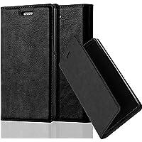 Cadorabo - Funda Book Style Cuero Sintético en Diseño Libro Sony Xperia Z3 COMPACT / MINI - Etui Case Cover Carcasa Caja Protección con Imán Invisible en NEGRO-ANTRACITA