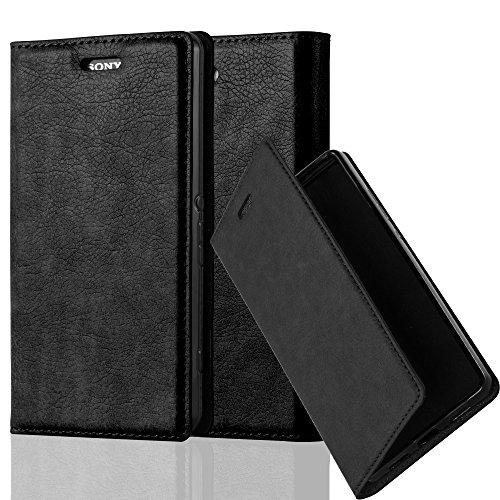 Cadorabo Hülle für Sony Xperia Z3 COMPACT - Hülle in Nacht SCHWARZ - Handyhülle mit Magnetverschluss, Standfunktion & Kartenfach - Case Cover Schutzhülle Etui Tasche Book Klapp Style
