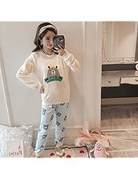 bd0744039b HAOLIEQUAN Conjuntos De Pijamas Casuales para Mujeres Conjunto De 2 Piezas  Mujer De Invierno Cálido Pijama