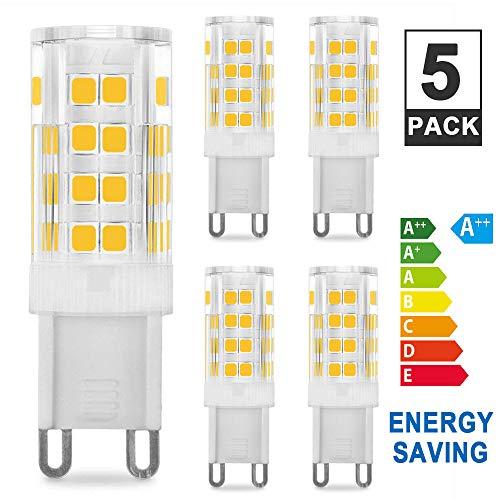 Vidence Bombilla LED G9 de 5W Equivalente a 40W Lampara Halogenos, 3000K G9 Lámparas LED Blancas Cálida 450LM, No regulable, AC 110-240V, Pack de 5 Unidades.