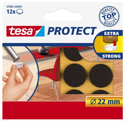 tesa-57893-surface-protectors-anti-scratch-self-adhesive-felt-round-22mm-brown-12-pack