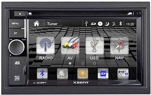 "Xzent X-302BT Naviceiver m. GPS Navigation z. Nachrüstung, 6.2""/15.7cm Touchscreen, Musikwiedergabe ab Tuner, Bluetooth, CD/DVD Player, SD-Card, USB"
