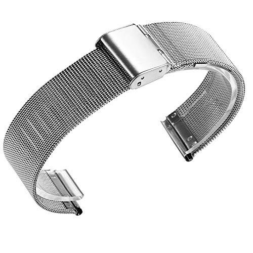YBWZH Milanese Edelstahlarmband für Huami Amazfit Bip Jugenduhr Edelstahl Metall Uhrenarmband Ersatz Uhren-Armband Ersatzband Uhrenarmband(Silber)