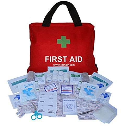 Premium First Aid Kit Bag Over 100 pieces for Travel, Car, Home, Camping, Work, Hiking, Survival, including Eye Wash, CPR MASK, Thermal Blanket, Tweezers, Scissors, Bandages, Plasters. Complete Kit to Protect You and Your