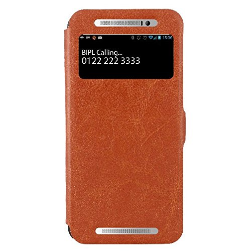 HTC One E8 Flip Cover, Slim Fit Case Cover, Protective Case for HTC One E8 Dual Sim (Brown)  available at amazon for Rs.499