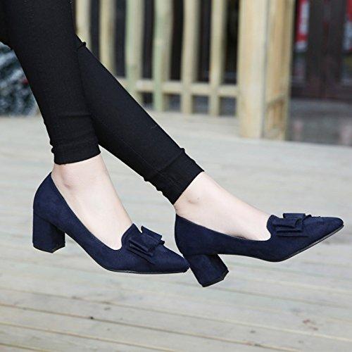 Lgk & fa estate sandali da donna autunno con grosso e superficiale bassa scarpe scamosciate scarpe blue
