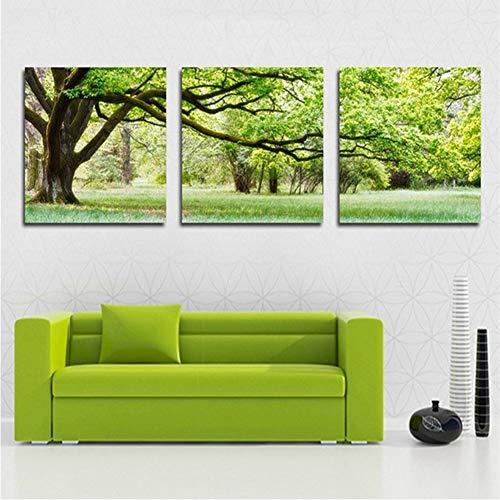 Personalisierte Leinwand Kunstdruck Modern Wandkunst Malerei Grüne Baumrasenlandschaft | Wandbilder für Wohnzimmer, Küche - 3 Stück,Green,15.7