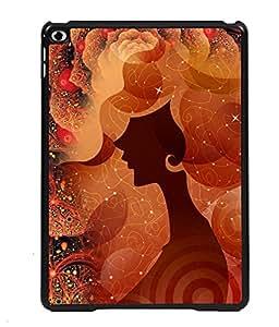 PRINTVISA Girl Flower Premium Metallic Insert Back Case Cover for Apple IPad 6 - D5776