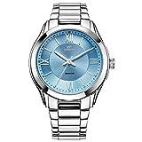 CENXINO Damen Luxus Chronograph Armbanduhren mit Kalender Datum und hoch präzisen Edelstahl-Band (Blue)
