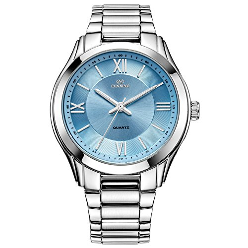 cenxino mujer ocio clásico cronógrafo relojes de muñeca con fecha calendario y banda de acero inoxidable (azul)