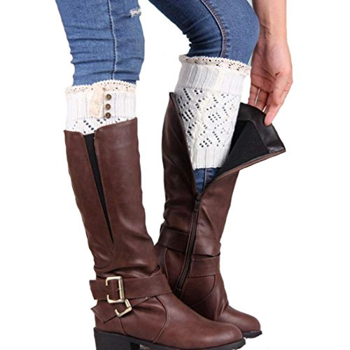 Amlaiworld 1 paar Damen Stulpen Spitze Stretch Boot Bein Manschetten Stiefel Socken (weiß) (Spitzen-stretch-stiefel)